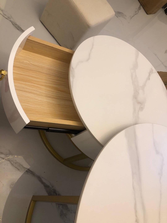 艺难忘轻奢岩板圆形茶几小户型现代简约客厅网红北欧风茶几桌家用金色岩板柜体款【50雪山白+70雪山白】套装