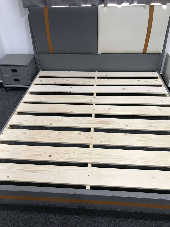 碧芯床双人皮床1.8米双人婚床主卧床1.5M现代简约全实木框架榻榻米软包皮床卧室家具单床(深灰色)1800mm*2000mm框架结构