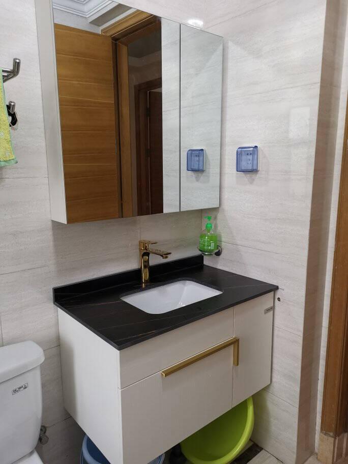 联勒(uniler)岩板浴室柜组合洗手盆洗漱台洗手台卫生间洗脸盆柜组合全面镜柜-白色-80cm