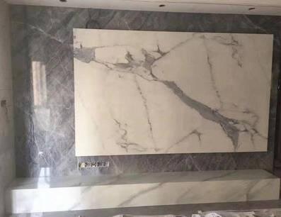 圣凯罗通体大理石大板背景墙瓷砖750x1500地砖新款客厅轻奢大气防滑地板砖751506西雅灰750*1500