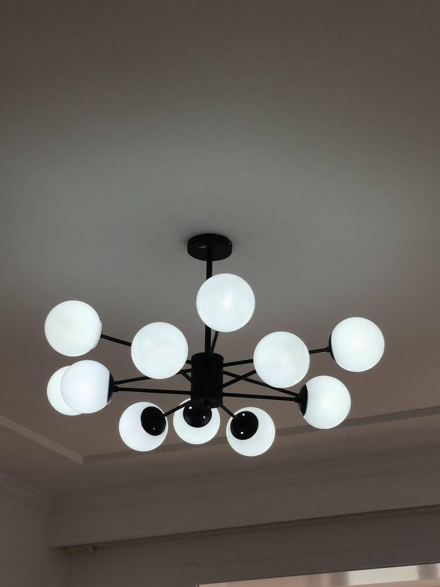 TCL照明北欧风全屋客厅灯吊灯餐厅轻奢个性创意简约现代卧室魔豆12头送3W光源直径920mmTCLMS-FE045/C-01