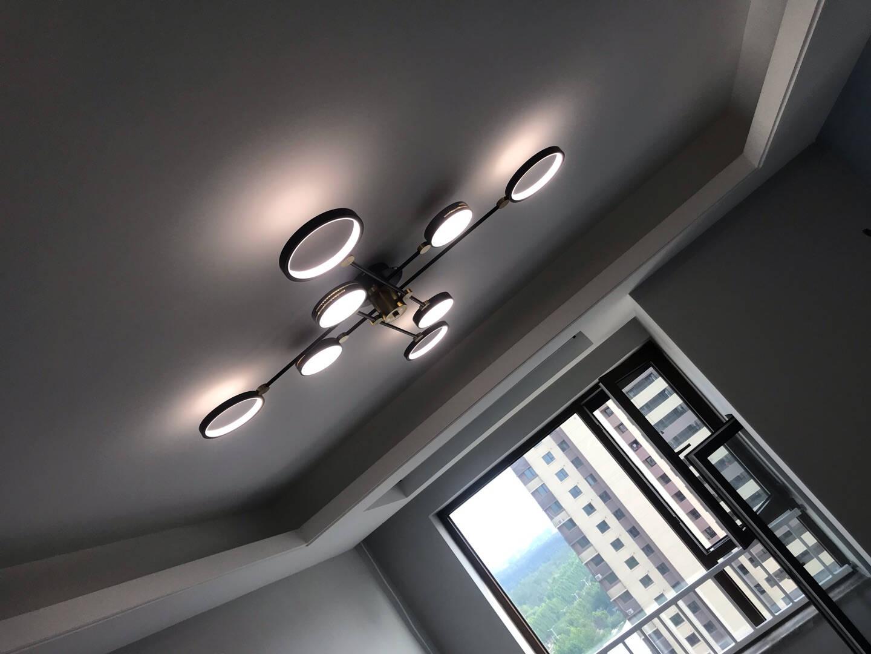 TCL照明客厅吊灯卧室餐厅吊灯书房灯具北欧后现代简卧室餐厅灯创意个性餐厅灯【三环黑】Φ20+40+60cm-40*2瓦三色