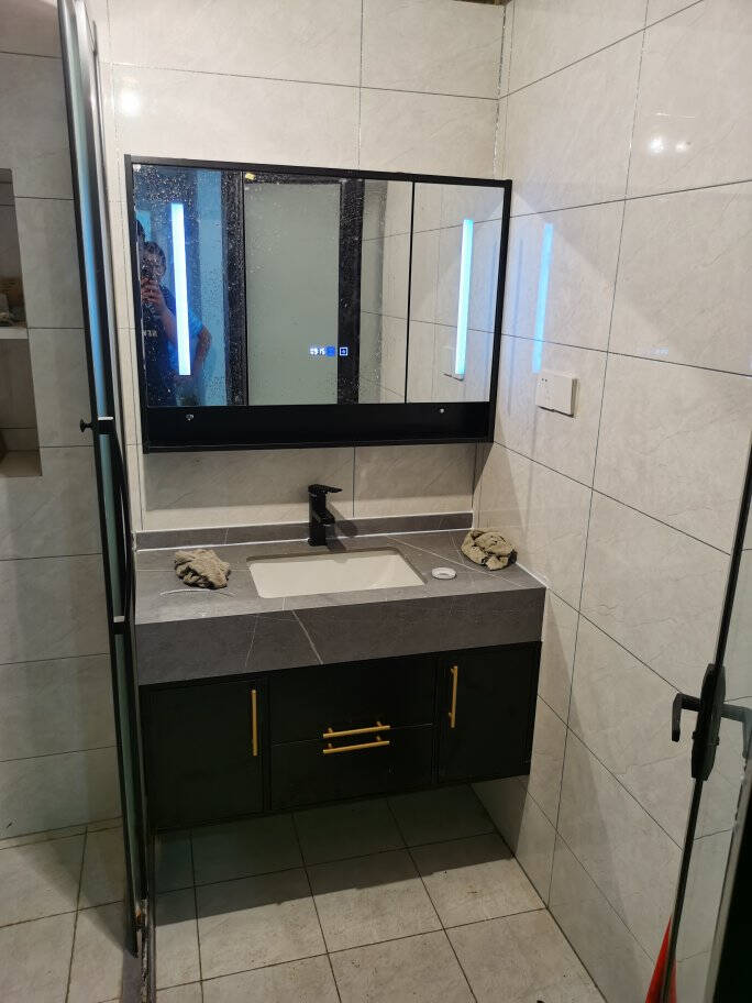 丽人轻奢岩板浴室柜组合北美风洗手池洗一体盆欧式卫生间洗漱台阿玛尼灰岩板台下盆80cm一开普通镜柜