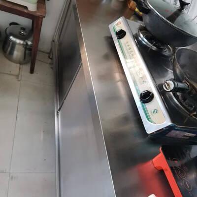 不锈钢橱柜工作台厨房操作台面储物柜碗柜切菜桌子带拉门案板商用烘焙组装款长120宽50高80单通