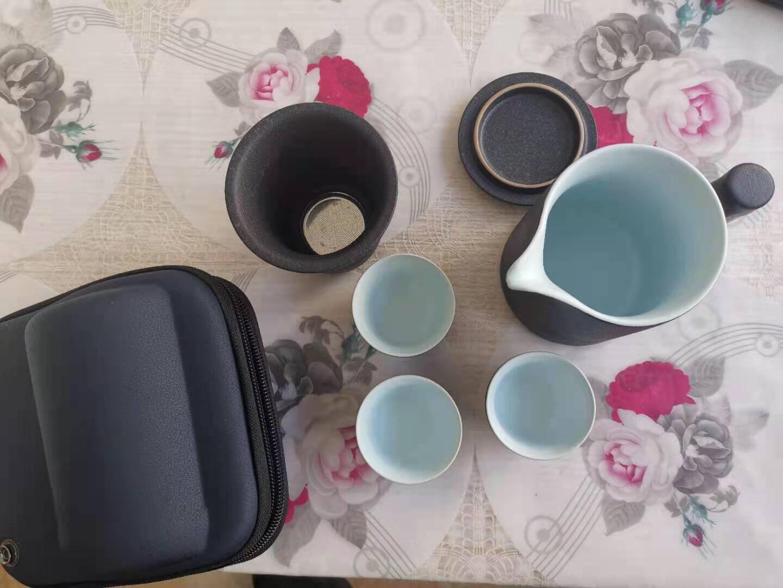 忆壶茶旅行茶具便携功夫茶具套装快客杯陶瓷茶壶泡茶杯便捷包随身户外办公喝茶简易旅游套装一壶三杯带茶具包