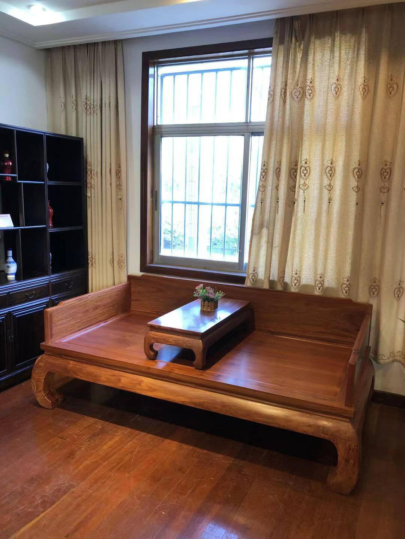 名佳红木家具缅甸花梨(学名:大果紫檀)罗汉床客厅家具简约沙发床榻推拉塌罗汉榻素板罗汉床2米以上