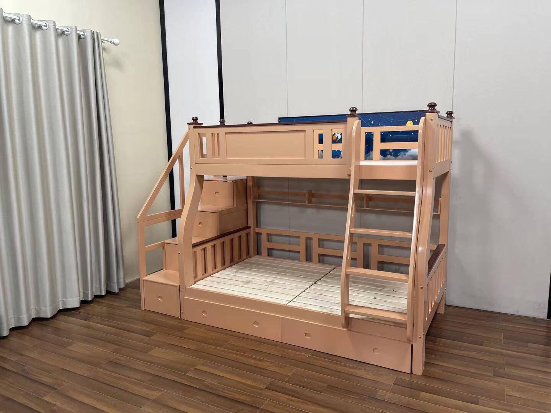百冠环球实木儿童床上下床高低床双人双层床实木成年上下铺女孩成年梯柜款上铺宽130下铺宽150