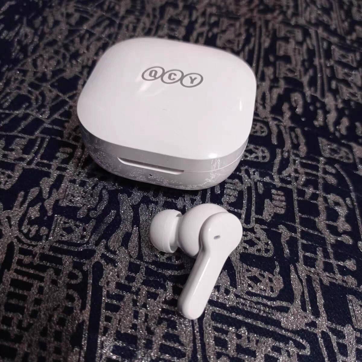 QCYT13真无线蓝牙耳机运动耳麦主从切换4麦通话降噪耳机快充苹果安卓小米华为手机通用白色
