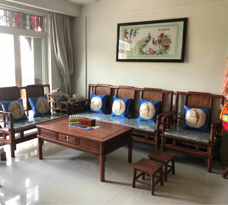 和沐红木家具非洲花梨(学名:刺猬紫檀)全实木沙发新中式客厅家具中小户型组合沙发简约沙发套装123六件套(单+双+三+茶几+2角几)