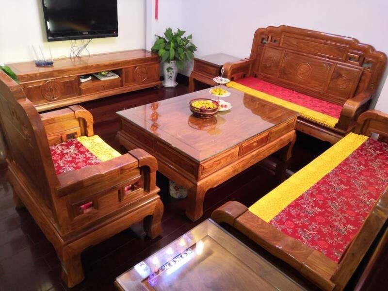 和沐红木家具非洲花梨(学名:刺猬紫檀)实木沙发中式仿古沙发新古典客厅沙发整装国色天香沙发六件套(三人位+双人位+单人位)