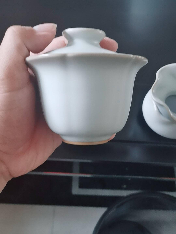 台湾冠杰汝窑茶具陶瓷功夫盖碗台湾冠杰大开片汝瓷盖碗三才碗功夫茶器天青色