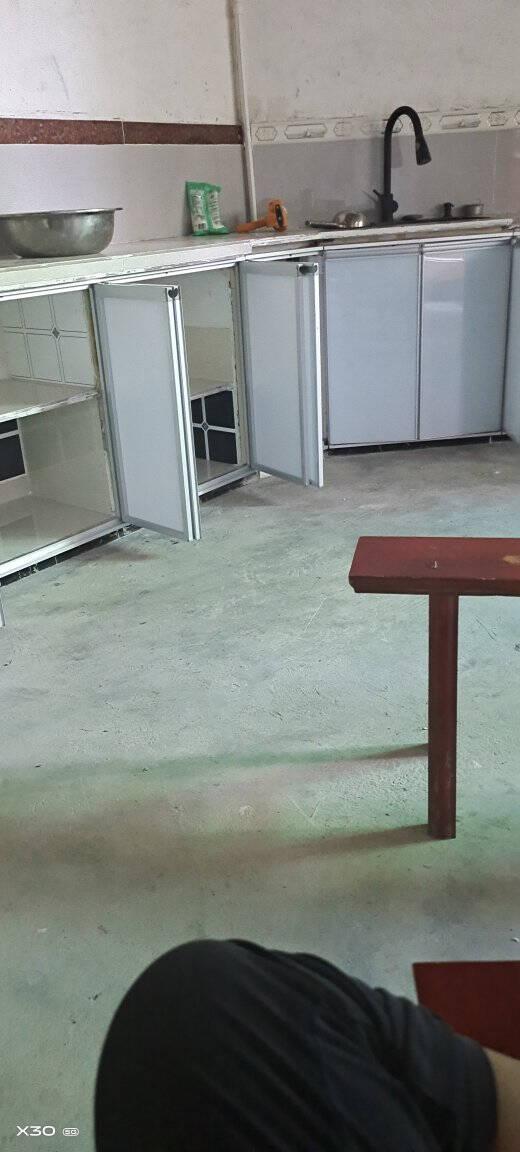 橱柜门定做晶钢门钢化玻璃门板大理石灶台带框柜门厨柜门定制按米蓝色