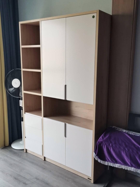 全友家居书柜书桌架北欧双色混搭实木框架书桌椅书柜组合书房家具储物柜125707书桌+书椅+三门书柜