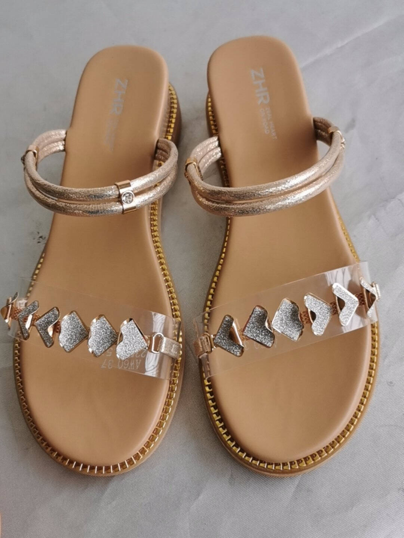ZHR凉鞋女轻奢贝壳一字带女鞋绊带两穿露趾鞋子女度假风气质舒适坡跟鞋女夏款AW60凉鞋金色37