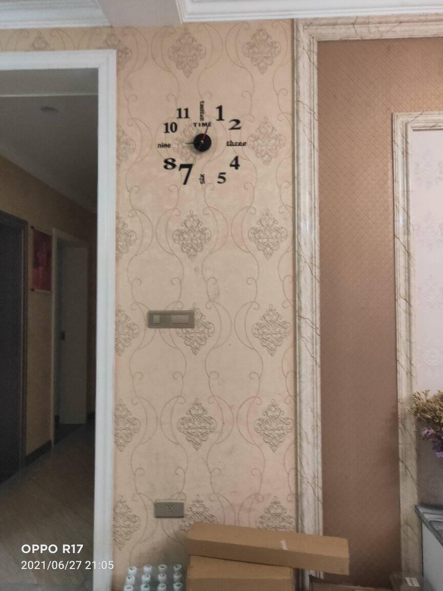 免打孔墙贴钟表亚克力工艺钟无框时钟静音挂钟创意自贴钟家用客厅墙贴钟DIY壁挂钟字母数字款黑色14英寸