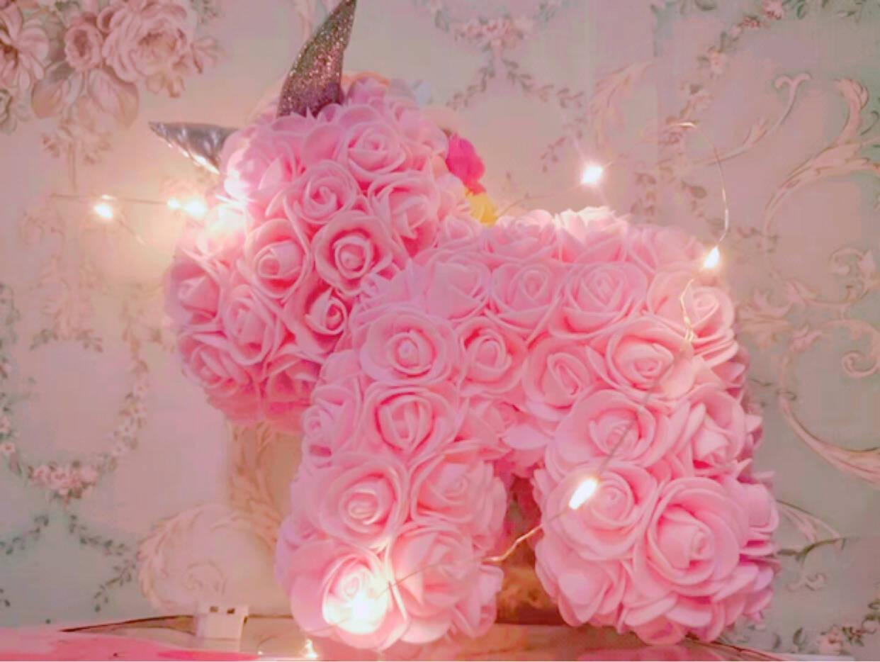 甜蜜点粉色pe玫瑰花独角兽永生花教师节礼物送老师生日女纪念日表白结婚礼物送女友老婆(附贺卡礼盒)