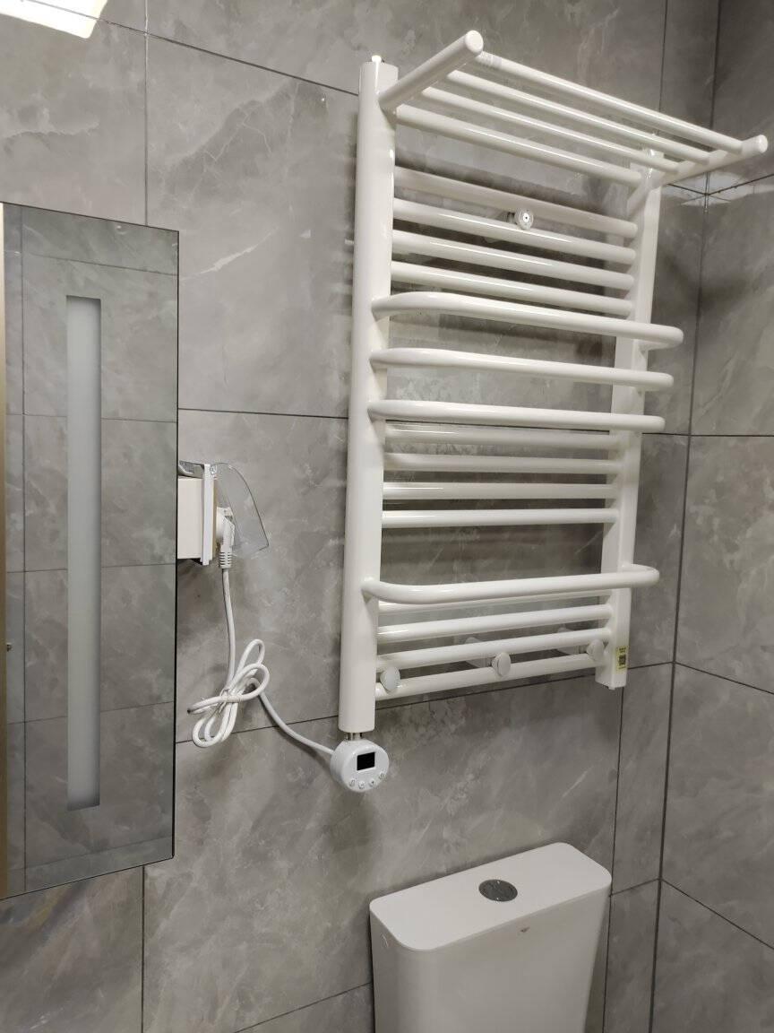 欧比亚电热毛巾架浴室卫生间厨房置物架智能温控电加热烘干浴巾架【推荐定时按键】高80*50cm白色-左右温控可调