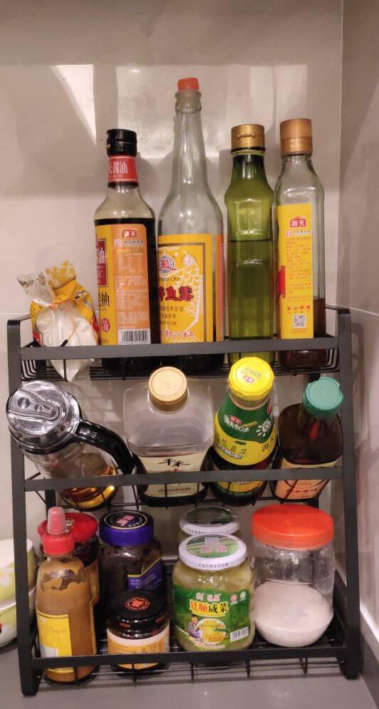 美之高厨房调料置物架桌面油瓶储物调味架免打孔桌面收纳架架子平底三层调料架
