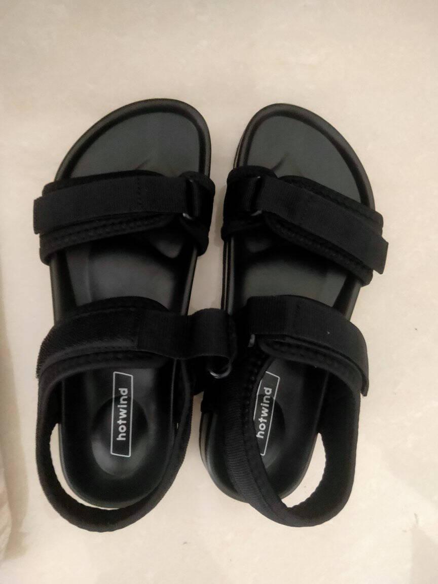 热风沙滩凉鞋女2021年夏季新款女士时尚平底休闲运动凉鞋女01黑色39(正码)