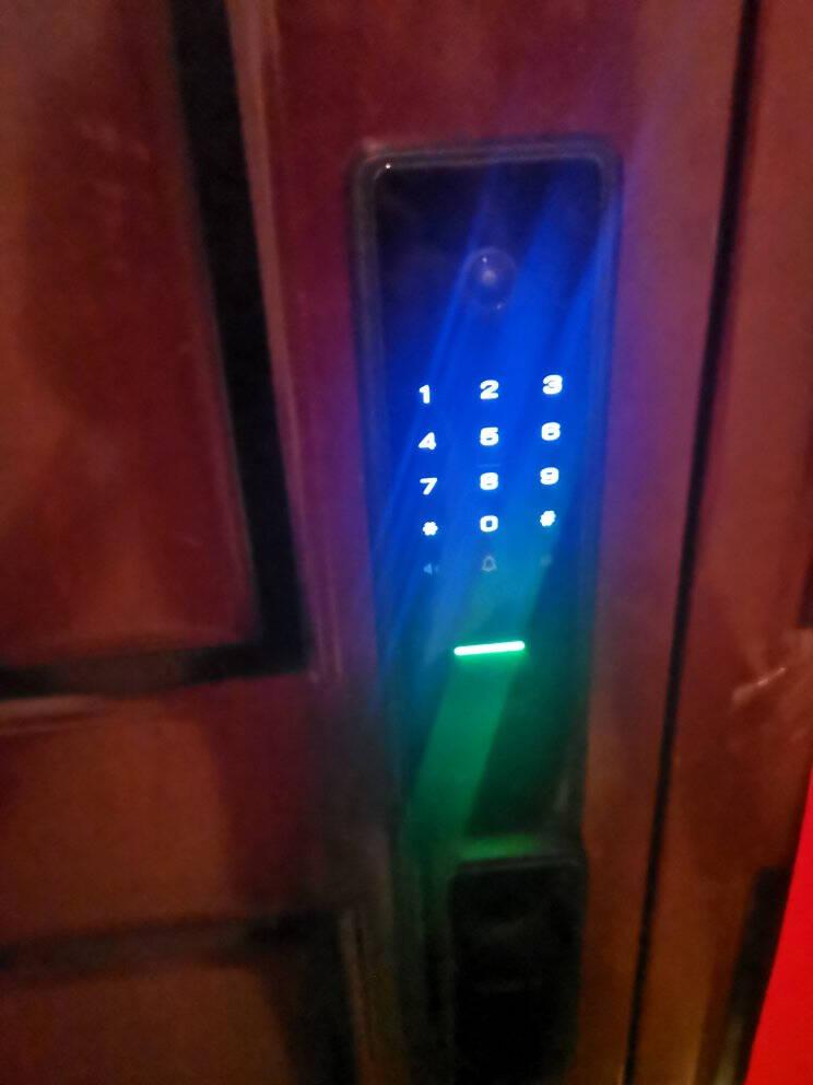 伯兰美指纹锁M3智能门锁家用指纹锁可视猫眼视频锁防盗门密码锁全国包安装可视版-深空黑