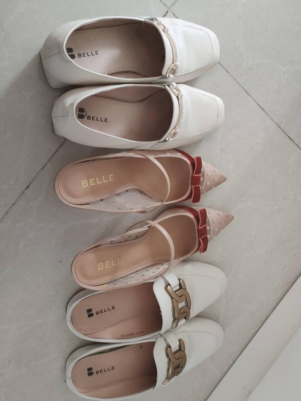 百丽2021新商场同款粗跟钱串外穿女ins潮穆勒凉拖鞋20117AH1【A】米白37
