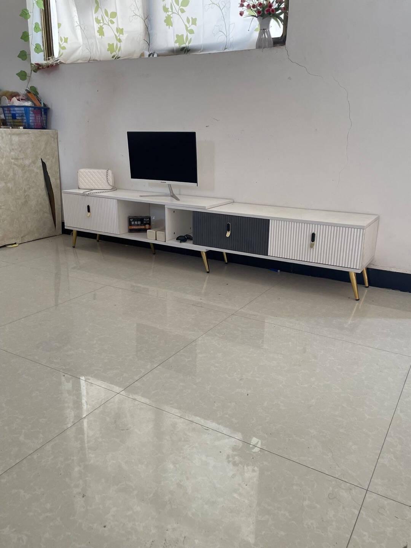 云曼轻奢电视柜茶几组合套装简约现代电视墙柜地柜仿实木岩板大理石纹电视机柜灰白空间·两抽电视柜+1.3米茶几