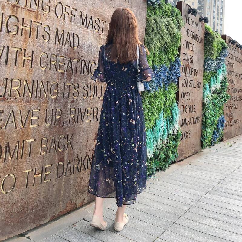 摩纳什丹MOGASTANCES连衣裙女2021中长款碎花吊带两件套夏季时尚雪纺套装裙子XZ2028图片色S