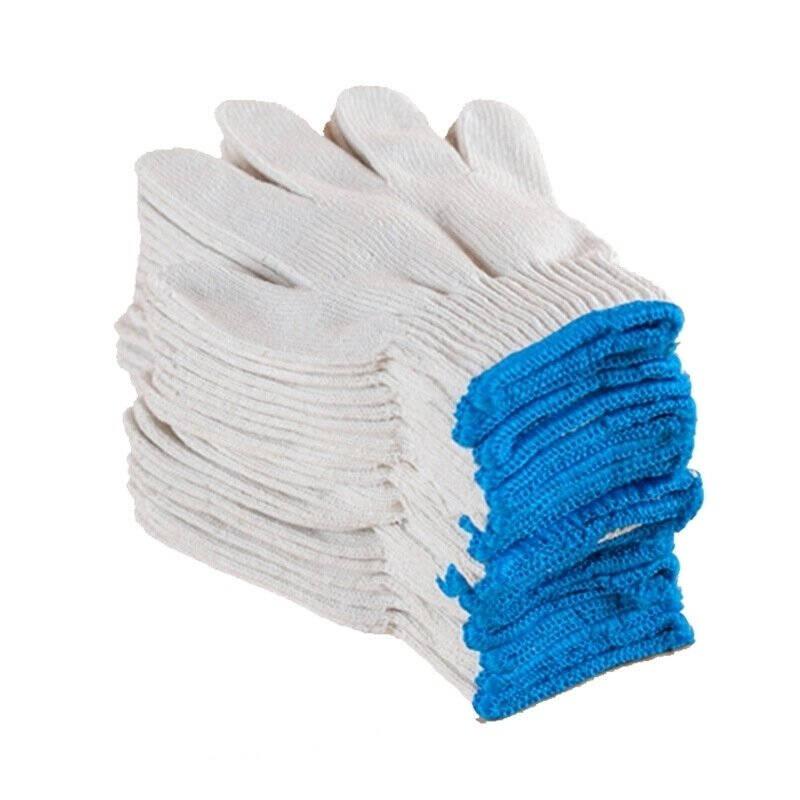 24双60双棉线好手套劳保手套工作白棉纱耐磨加厚防护防滑汽修劳动深蓝色优)600G/60双