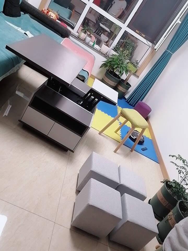 古宜(Guyi)升降茶几桌两用北欧小户型简约现代客厅创意家具多功能折叠桌升降茶几组装
