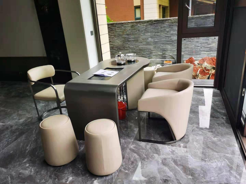 阿司趣林轻奢茶桌意式极简岩板茶桌椅组合茶几桌家用会客泡茶桌茶具套装一体【圆凳】(图片是参考)