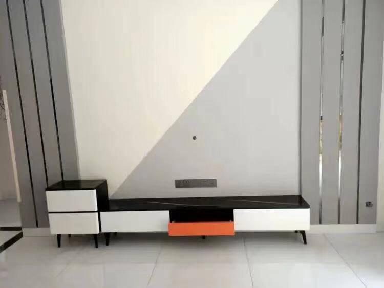 康倍莱电视柜茶几组合套装客厅钢化玻璃电视柜现代简约小户型电视柜茶几1.6米电视柜白色大理石纹钢化玻璃