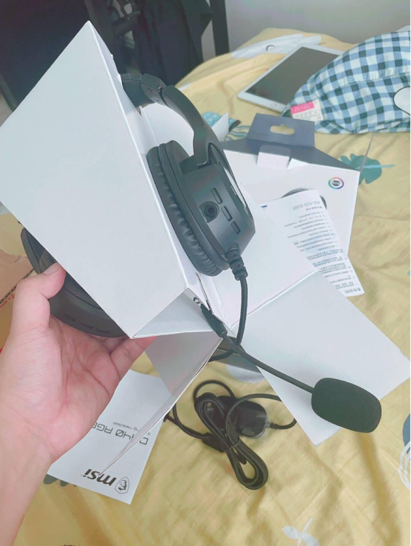 微星(MSI)DH40RGB电竞耳机头戴式游戏耳机电竞耳麦虚拟7.1可拆麦克风人体工学带线控黑色