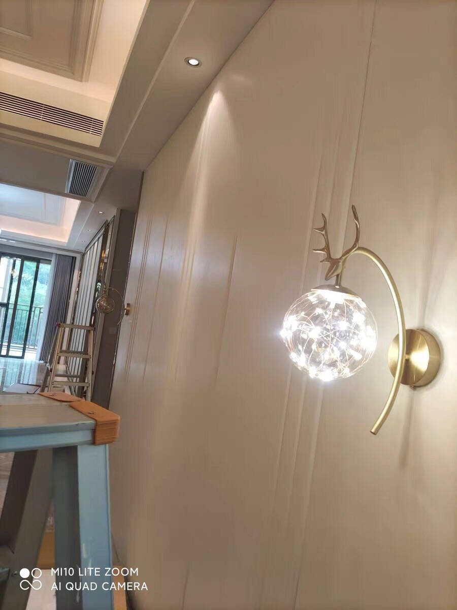 幻色轻奢鹿角壁灯卧室床头壁灯过道灯现代极简网红金色简约商用家用百搭北欧灯具8W暖光(适用于3-8平)