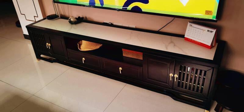 金志文新中式茶几电视柜岩板现代简约轻奢大小户型地柜实木茶几电视柜影视柜组合客厅家具1.3米茶几+2米电视柜