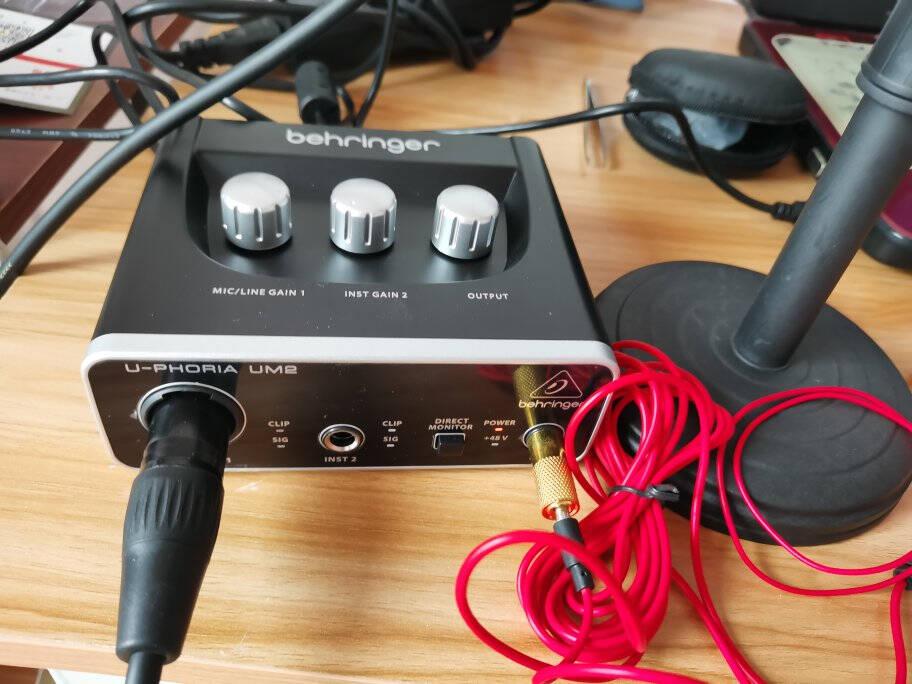 behringer百灵达UM2UMC22专业录音电脑外置接口有声小说录音直播k歌山逊Q7【套装/动圈话筒】UM2+山逊Q7