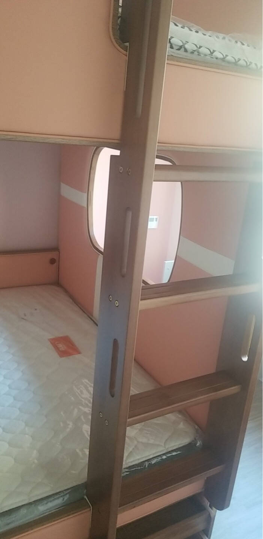 优想轻奢儿童床粉色上下床母子上下铺二层床现代简约高低床子母床男孩女孩多功能床上下铺木床【高低床】(不含书架、拖床、梯柜)1500mm*1900mm