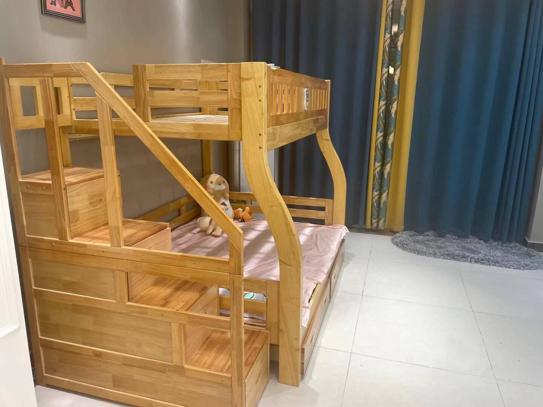 精冠榉木儿童床上下床高低床子母床梯柜全实木上下铺木床双层床成人床梯柜款(四色可选,拍下请备注)上铺款130cm*下铺款150cm