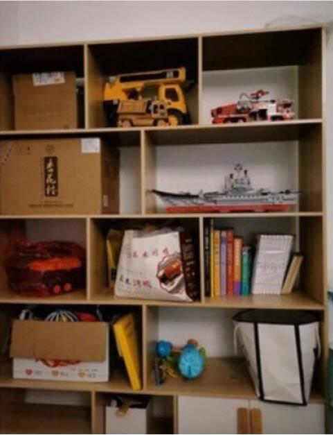 米克米家书架落地书架书房简易书架卧室客厅置物架【两门三抽】田园橡木色120*30*180
