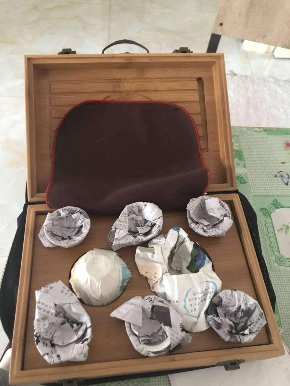 林盛旅行茶具套装便携式户外旅游包陶瓷盖碗泡茶杯野外随身迷你车载功夫茶具龙行天下单独排水茶盘配绿竹子茶具(牛津布包)
