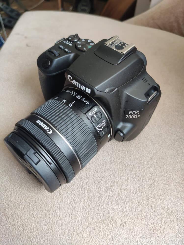 佳能(Canon)EOS200DII单反数码相机女生学生高清旅游拍照照相机新款二代套机黑色单机+18-55STM镜头