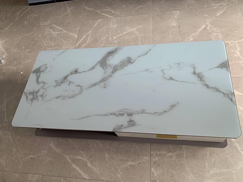 兵盛雅娟电视柜电视柜现代简约轻奢家用小户型北欧客厅茶几电视柜组合边柜仿大理石纹钢化玻璃靠墙角柜子1.6米高级灰电视柜+石纹钢化玻璃