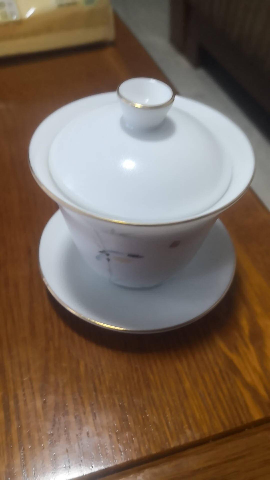 金镶玉功夫茶具茶壶盖碗羊脂玉白瓷大号家用泡茶碗甜白盖碗