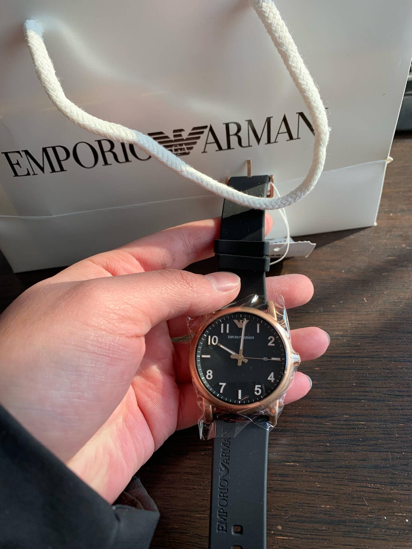 阿玛尼(EmporioArmani)手表编织钢带男士时尚休闲石英腕表AR11046