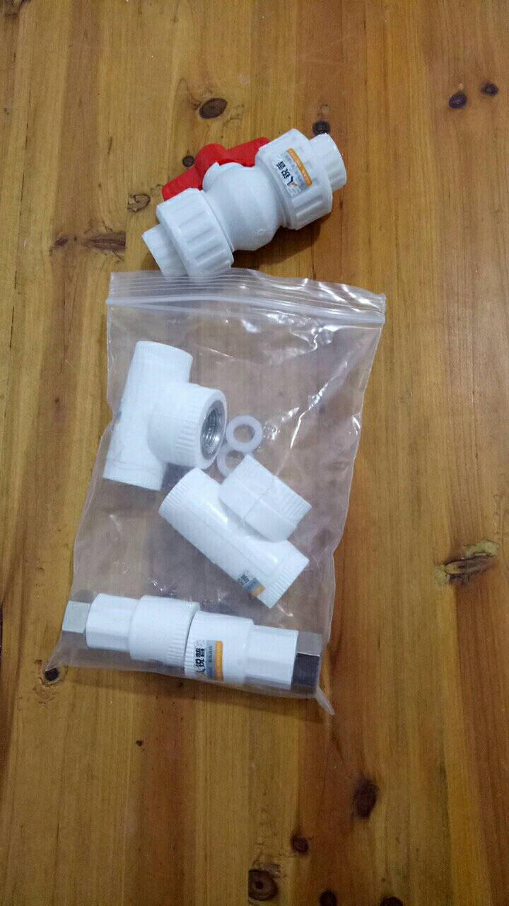 锐普PVC给水管配件PVC管件4分铜内外丝直接弯头三通阀门接头胶水20活接