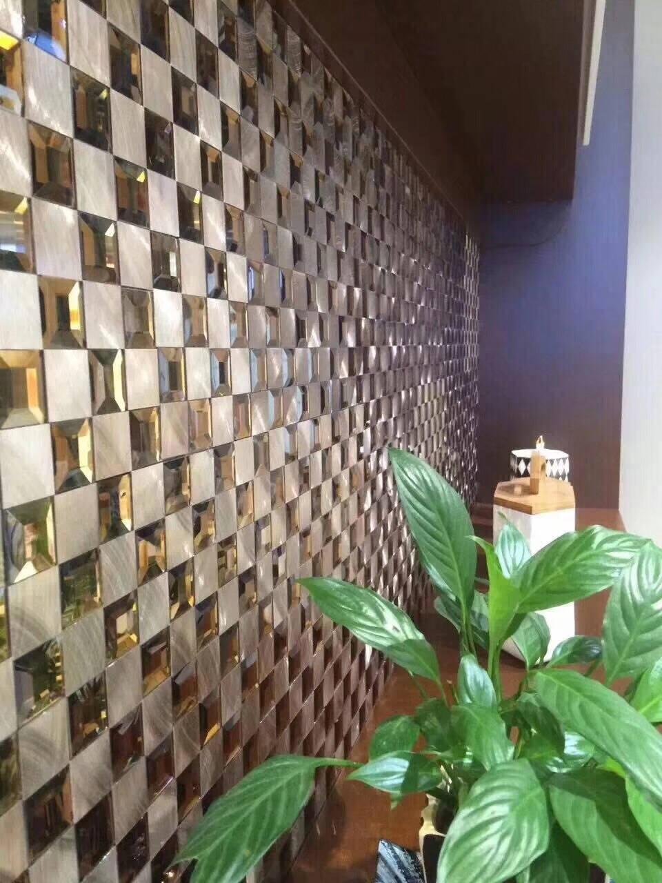 名玛汇茶色玻璃马赛克电视背景墙瓷砖金属拉丝镜面欧式卫生间客厅玄关餐厅建材墙砖