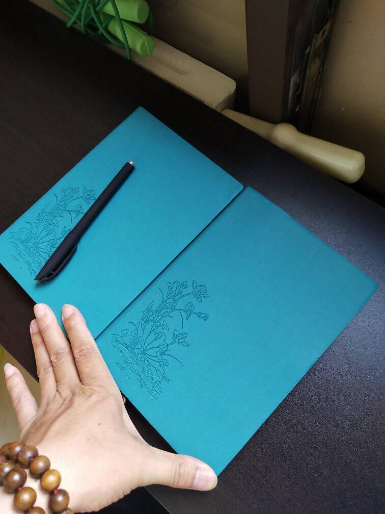 法拉蒙a5笔记本子办公文具用品创意记事本商务简约加厚日记本办公会议记录本定制广告位logo荷花款:海藻绿