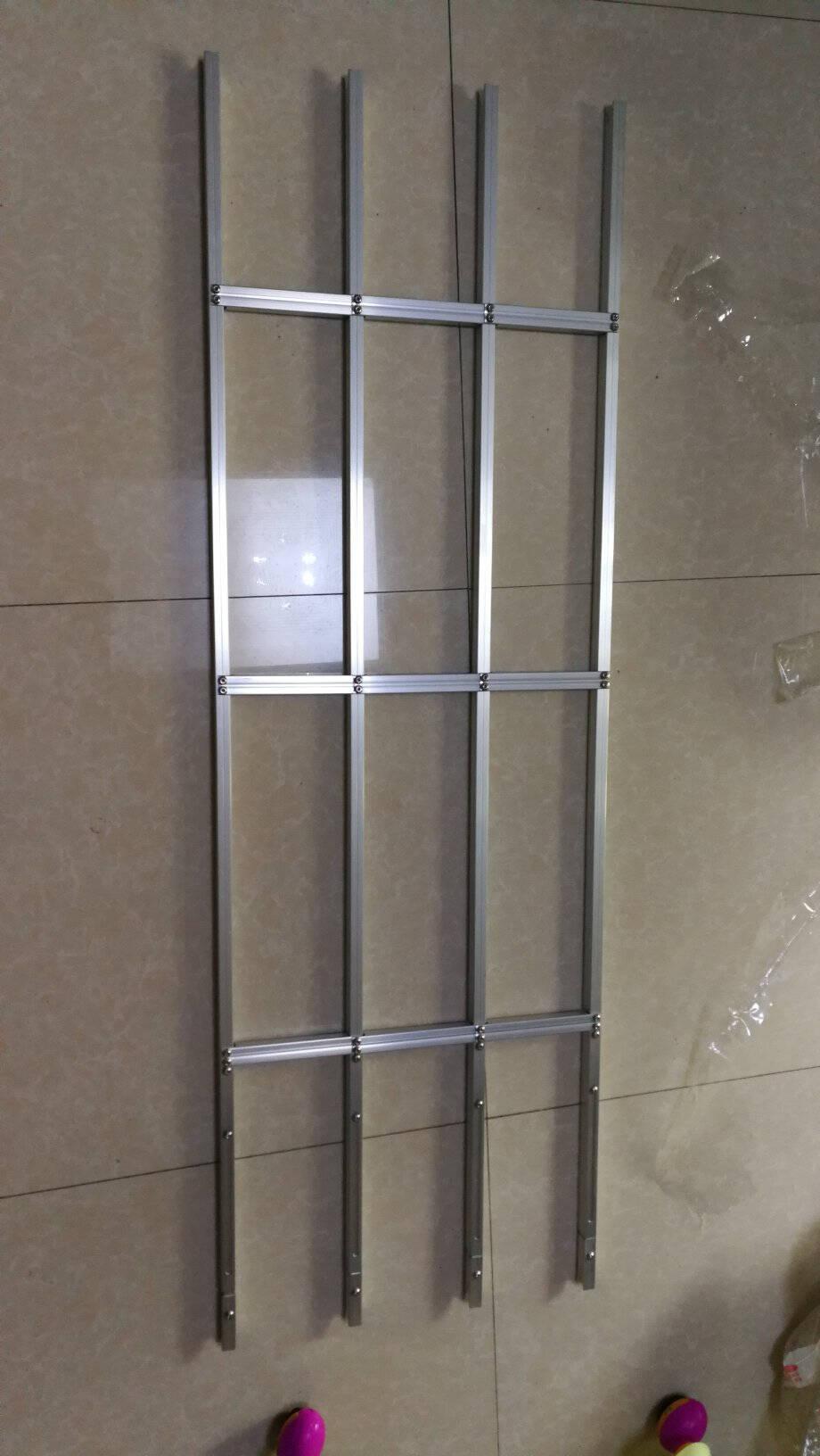 免打孔防盗窗网高层阳台室内置飘窗隐形儿童安全防坠落护栏可拆卸咖啡色窗洞高度106-121(1支)