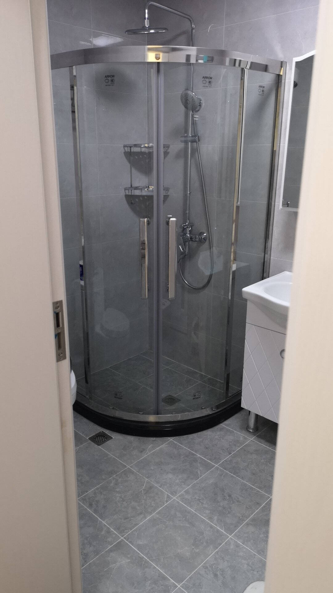 箭牌(ARROW)整体淋浴房弧扇型304不锈钢8mm加厚防爆钢化玻璃卫生间浴室隔断900*900mm现货不锈钢