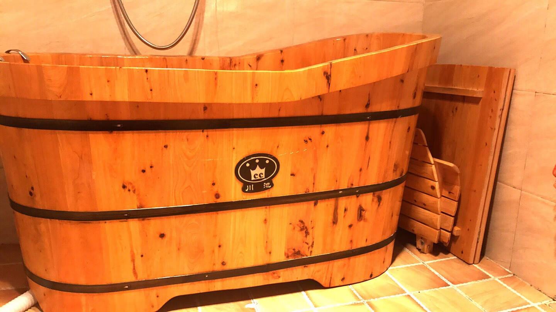 川池(CC)木桶浴桶成人沐浴洗澡桶熏蒸泡澡实木桶成人香柏木养生加厚泡浴药浴桑拿桶120长60宽标配