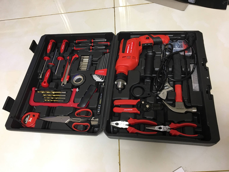 万克宝(WORKPRO)家用冲击钻套装170件套手电钻工具箱组套600W电动螺丝刀多功能两用小电锤J1Z-RYT-10A
